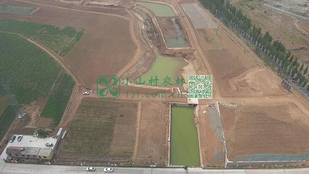 平整过后的土地航拍图,绿色的部分就是俺们的土豆田了。